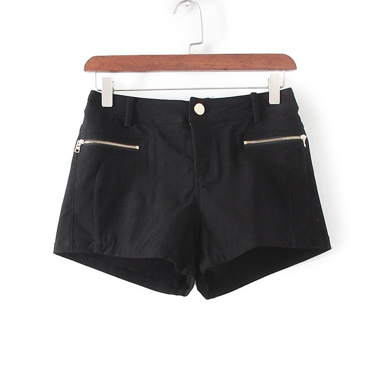 [超豐國際]村春秋裝女裝黑色純色西裝褲式短褲 33035(1入)