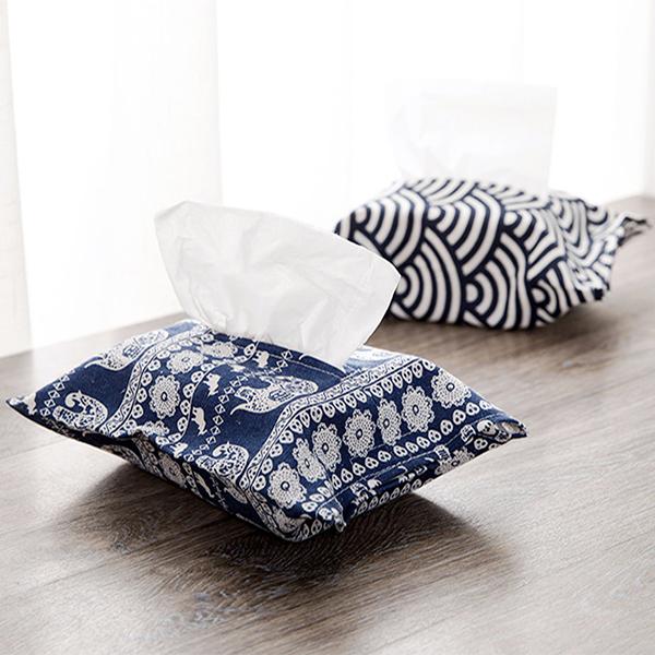 居家收納任選69折BlueCat日式和風布藝藍色圖騰棉麻面紙袋紙巾盒面紙抽面紙套