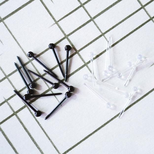 矽膠小圓球造型耳棒耳釘針黑白透明2色任選防抗過敏一對價
