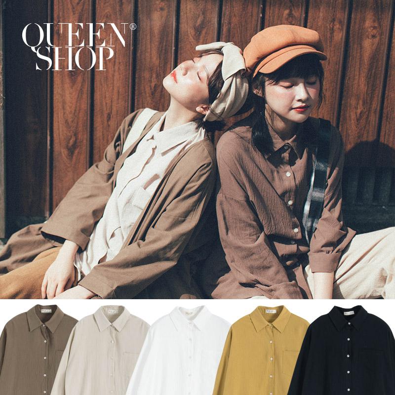 Queen Shop【01023469】素面單口袋襯衫 五色售*現+預*