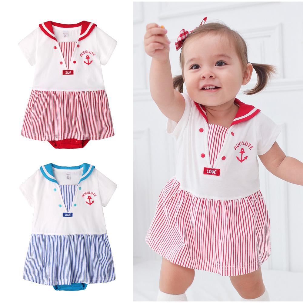 Augelute Baby海軍領水手服造型包屁裙60020