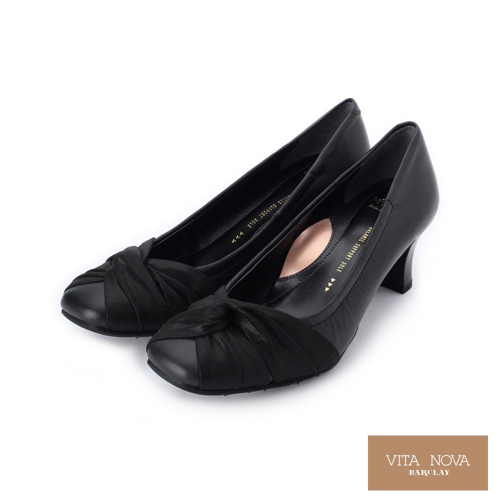 KAWANO 素面皮質扭結跟鞋│日本製 黑 07 3265 女鞋