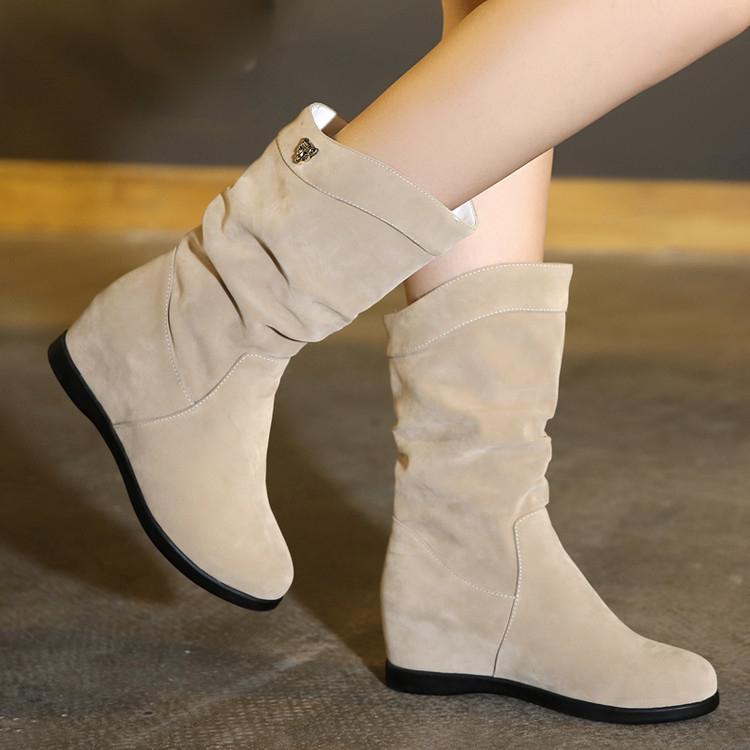女鞋磨砂圓頭高筒靴女平底靴子中長靴女靴中靴潮【蘇迪蔓】