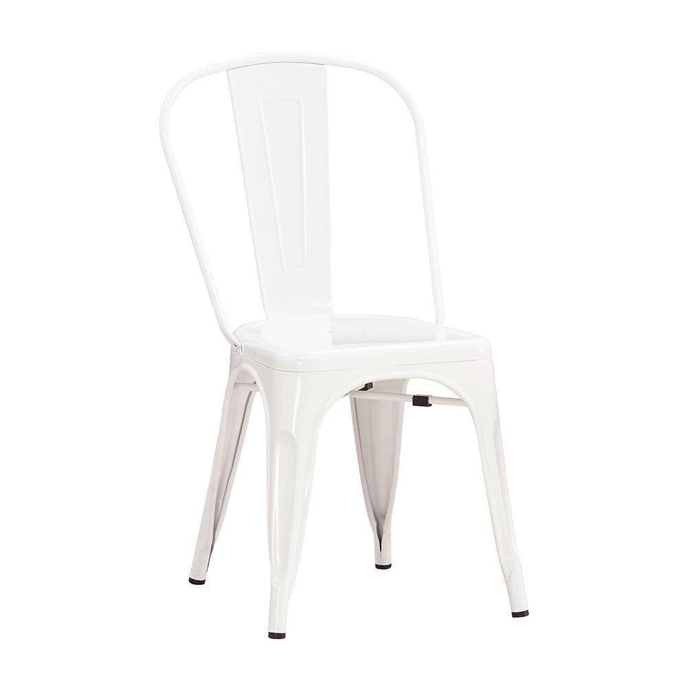 森可家居工業風鐵餐椅白色6JX667-4美式復古餐椅子