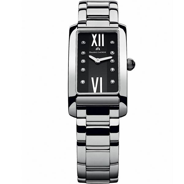 【僾瑪精品】Maurice Lacroix 艾美錶 奢華典雅時尚女用方形鑽錶-黑/20.9mm/FA2164-SS002-350