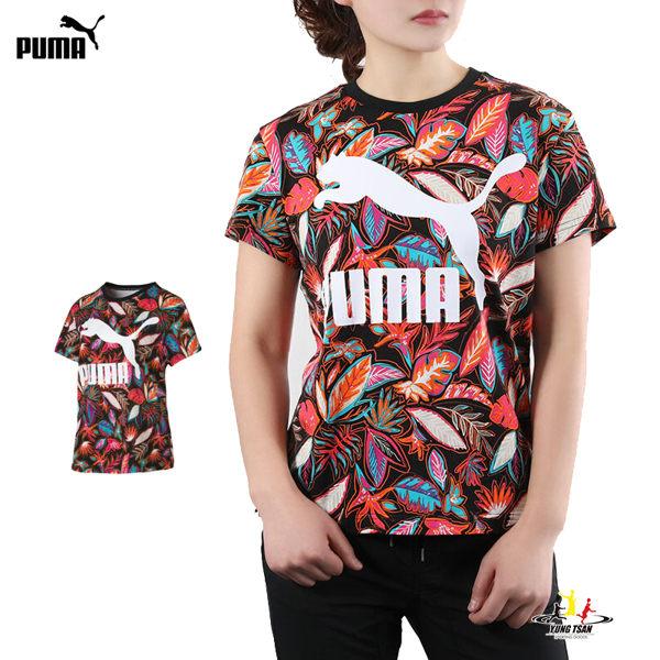Puma 女 印花 黑 短袖 流行系列 運動上衣 透氣 休閒 短袖上衣 短T 57903351