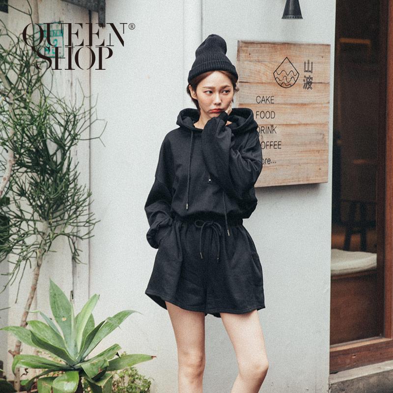 Queen Shop【04050604】連帽縮腰設計連身短褲*現+預*