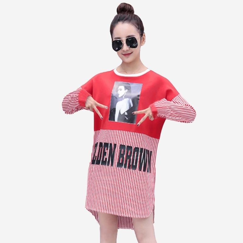 春秋韓風新款字母膠印人像拼接直纹中長版襯衫式上衣短洋裝 (黑條  紅條)二色售