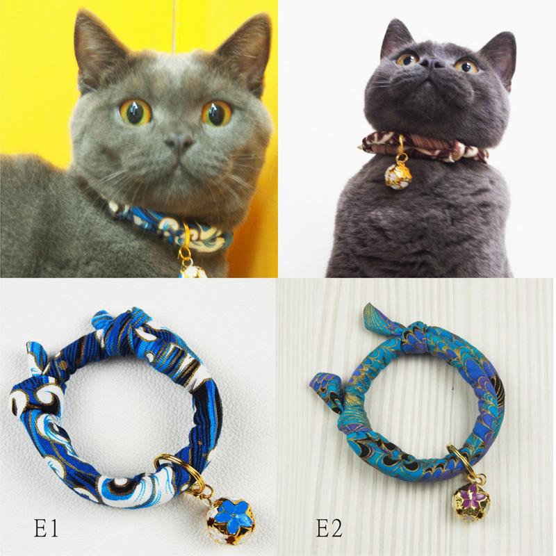 手工定制寵物和風招財貓項圈鈴鐺項圈貓狗項圈日本布-E系列:6色---9月份新品