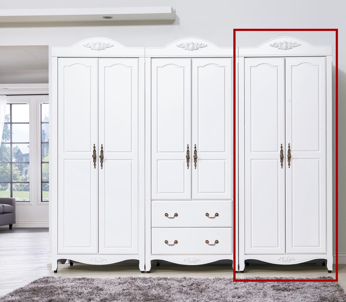 森可家居艾拉鄉村2.7尺雙吊衣櫥單只6HY48-2衣櫃白色法式鄉村風古典公主