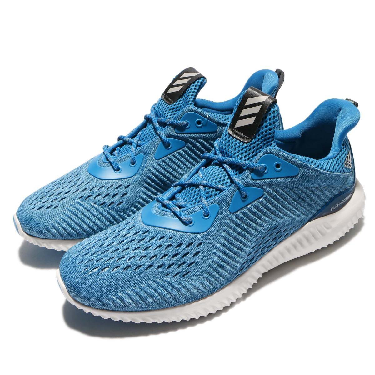adidas 慢跑鞋 AlphaBOUNCE EM M 藍 灰 鯊魚腮 路跑 運動鞋 男鞋【PUMP306】 BY3846