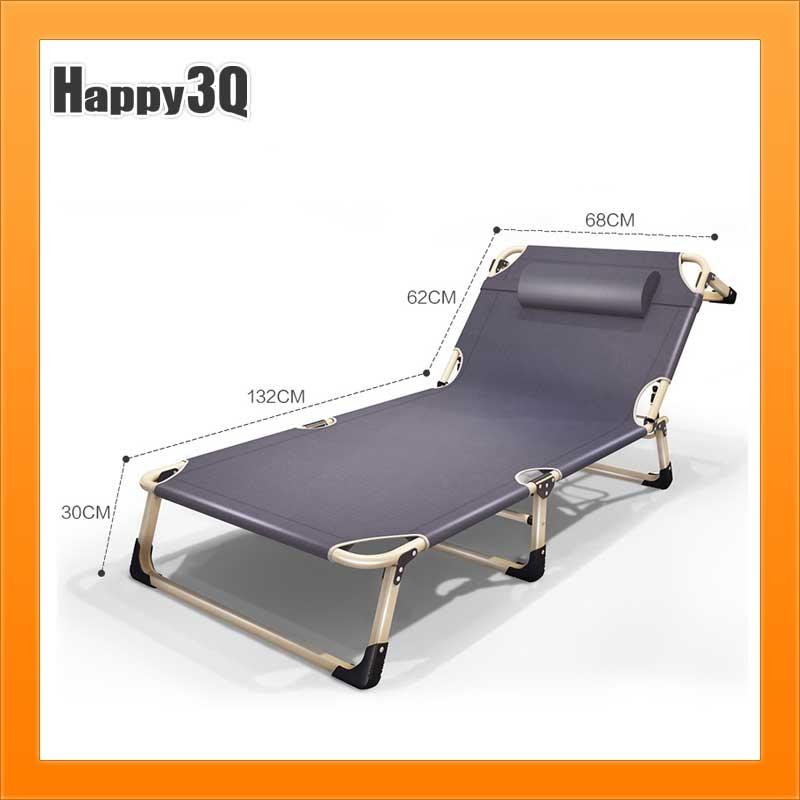 午睡椅午休床折疊床躺椅辦公室陽臺沙灘椅單人加寬68CMX193CM-深灰深藍AAA0358預購