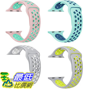 [106美國直購] 手錶帶 Gersymi Tech Apple Watch Nike Band Soft Silicone Sport (4pcs-white pink teal yellow, 42mm)