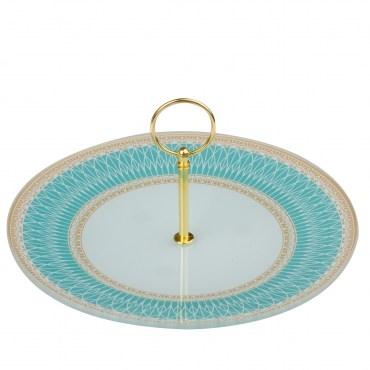 HOLA home雅典風情藍金蛋糕盤25cm