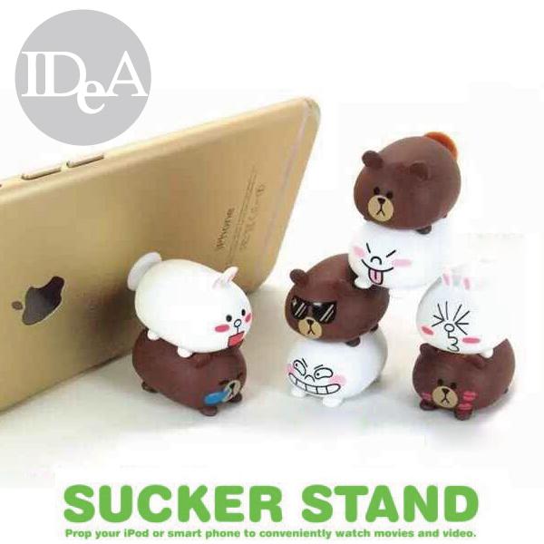LINE Q版疊疊樂吸盤手機支架立架熊大兔兔饅頭人非迪士尼Disney TSUM疊羅漢豬公撲滿存錢筒