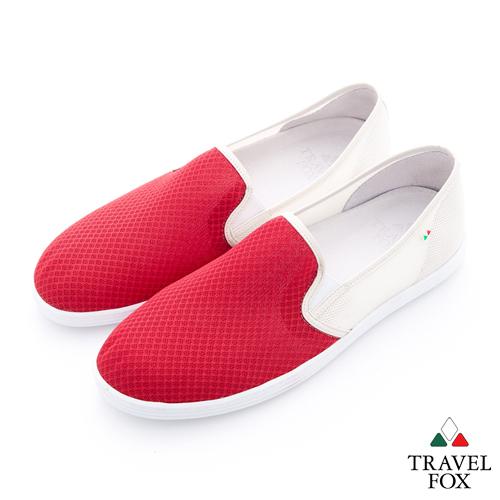 Travel Fox(男)輕快的 網紋透氣直套懶人鞋 - 紅白