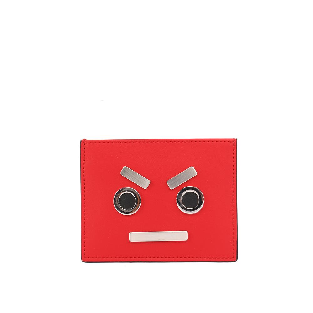 FENDI表情圖案牛皮不銹鋼信用卡夾名片夾紅色7M0234 SL9 F051U
