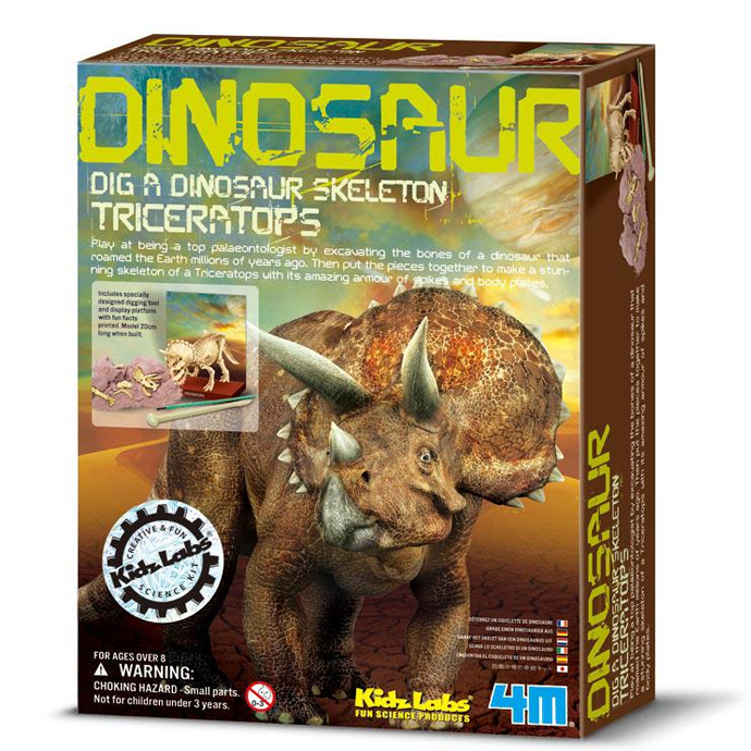 4M創意DIY Dig a Dino Skeleton Triceratops挖掘三角龍