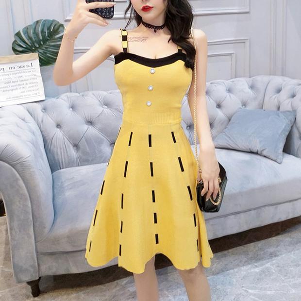 細針羅紋竹節造型修身A字裙洋裝 ( 黑  黃 ) 11950085