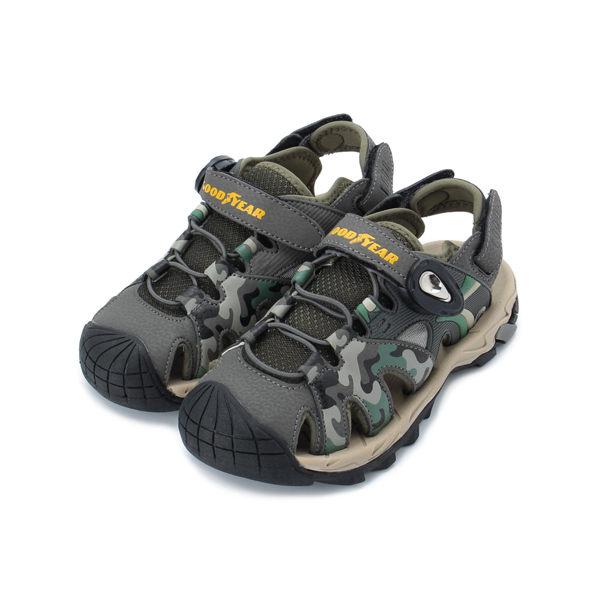 GOODYEAR BUSH 護趾磁釦涼鞋 迷彩綠 GAKS98975 中大童鞋 鞋全家福