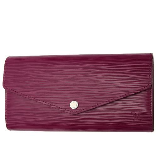 茱麗葉精品全新精品Louis Vuitton LV M60580 Sarah EPI水波紋皮革發財包扣式長夾.紫紅預購