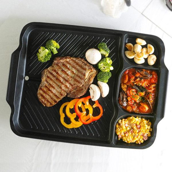 限宅配韓國Kitchen Flower新款多功能方型大烤盤44 33cm長型烤盤韓國滴油烤盤不沾塗層烤盤