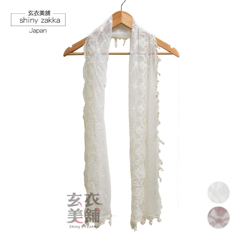 蕾絲透紗長絲巾-日本薄款圍巾-2色-玄衣美舖