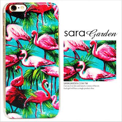 (24H) 客製 滿版 油畫 喜氣 紅鶴 湖水藍 iPhone 6 6S Plus 手機殼 荔枝紋 硬殼 Sara Garden【C0719021】