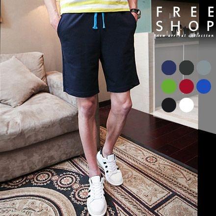 短褲 Free Shop【QTJD01】韓系夏日繽紛色系撞色抽繩棉質運動休閒短褲五分短褲 八色 有大尺碼