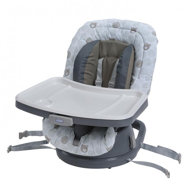 聰明媽咪-Graco 成長型旋轉餐椅Swivi Seat™ 3-in-1 Booster(點點熊)