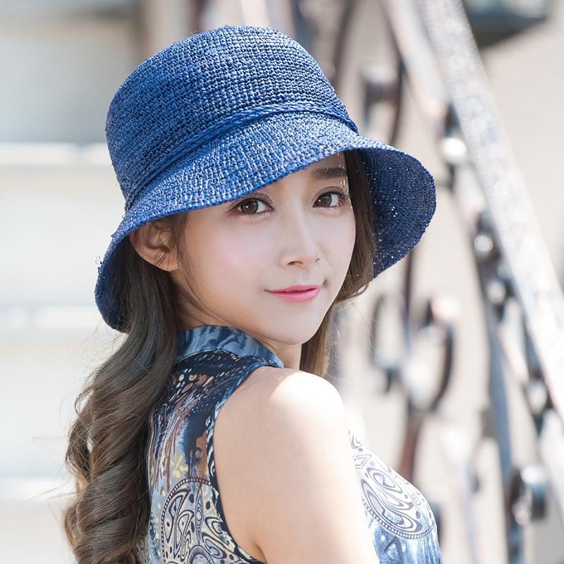 女夏天韓版潮大簷遮陽帽拉菲草可折疊沙灘防曬帽太陽帽
