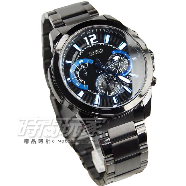 SKMEI時刻美三眼潮流個性時尚腕錶真三眼日期視窗防水手錶IP黑電鍍SK9108黑IP