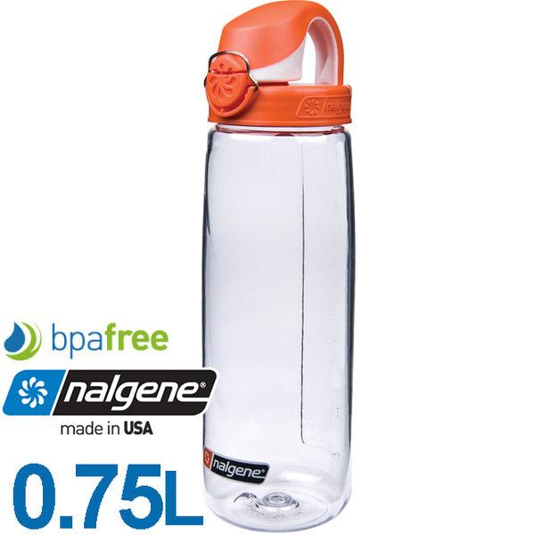 Nalgene 5565-3024透明橘蓋750ml OTF多功能運動水壺Bpa free無毒不含雙酚A登山健行水瓶兒童水壺