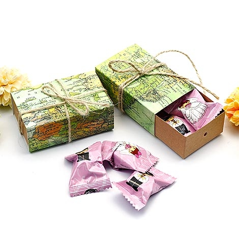 幸福婚禮小物DIY環遊世界地圖喜糖盒迎賓禮桌上禮二次進場送客禮喜糖盒