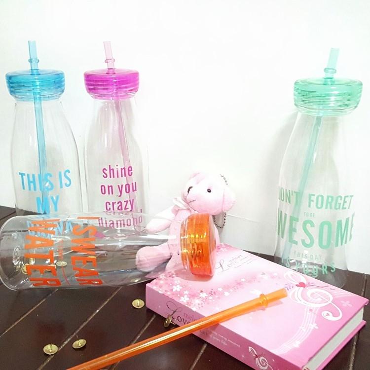 水杯 【KCP012】韓國創意吸管牛奶汽水瓶540ml 寬口杯 水瓶 吸管 運動水壼 食品級PP-收納女王