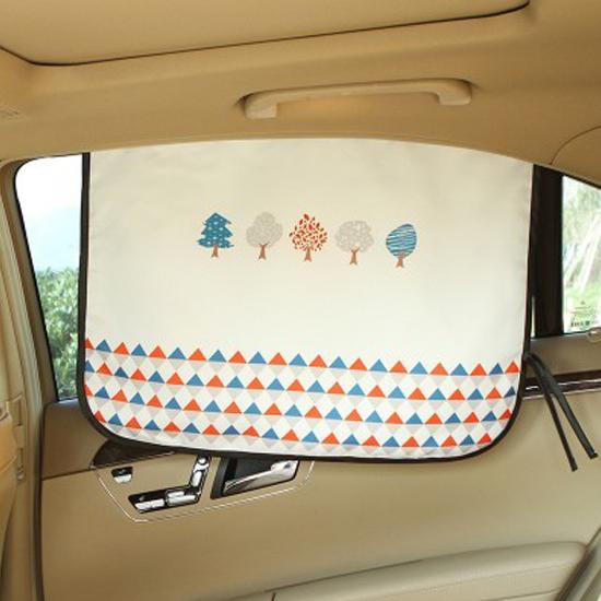 米菈生活館Q249童趣印花磁性遮陽布可摺疊汽車防透視窗簾防曬降溫紫外線側窗護眼