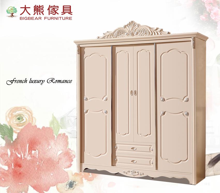 【大熊傢俱】LH FD-303 歐式衣櫥 推門衣櫃 四門衣櫃 多功能儲物櫃 抽屜櫃 法式衣櫃 實木 置物櫃
