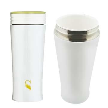 等一個人咖啡真空雙層內陶瓷保溫杯300ml-蘋果綠
