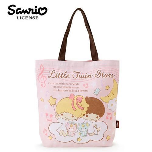 粉紅款日本進口雙子星KIKILALA帆布肩背包托特包手提袋肩揹提袋三麗鷗Sanrio 439095