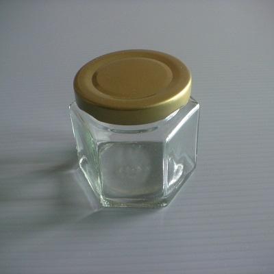 金蓋儲物罐矮六角柱形-100ml玻璃瓶密封罐收納罐糖果罐保鮮罐