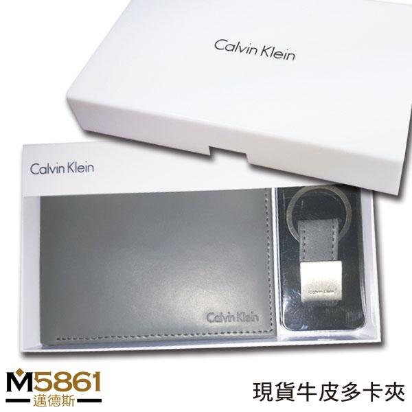 CK男皮夾美國進口現貨Calvin Klein高級牛皮多卡夾功能CK鑰匙圈男用新款禮盒組灰色