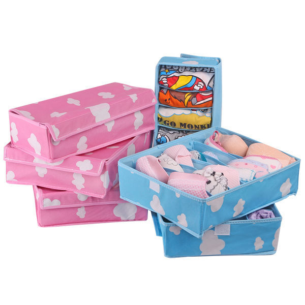 生活家精品N03有透明蓋雲朵竹炭內衣內褲收納盒三件式整理盒收納盒整理盒收納箱