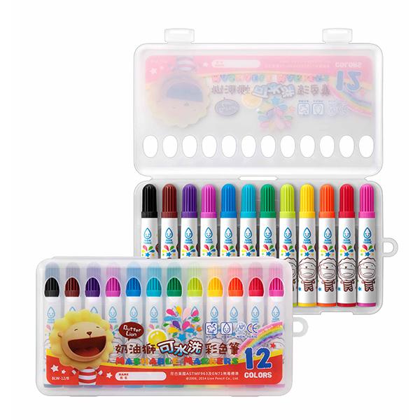 雄獅奶油獅BLW-12 B 12色可水洗彩色筆一箱12盒入定110美術彩繪圖畫創作