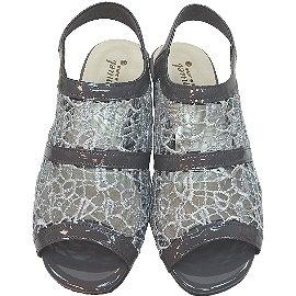 波克貓哈日網超舒適魚口鞋高跟涼鞋灰色紗網~日本製