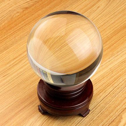 水晶球擺件風水招財鎮宅(10cm水晶球 木底座/透明色)