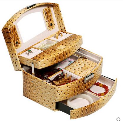 京東生活小物手飾盒耳釘首飾盒木質公主歐式帶鎖首飾收納盒飾品盒批發絨布