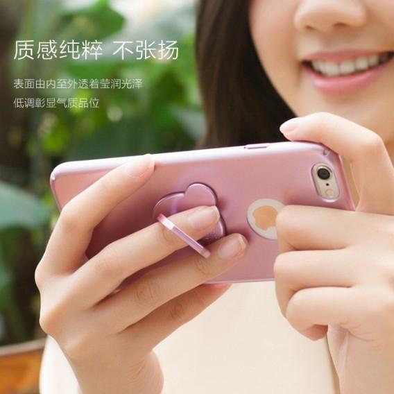 數位風潮小熊指環扣蘋果iphone 6 6s plus手機殼支架蘋果7 plus手機配件保護套玫瑰金可愛