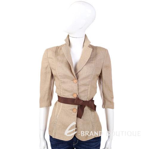 ALBERTA FERRETTI 駝色七分袖西裝外套(不含腰帶) 0520754-02