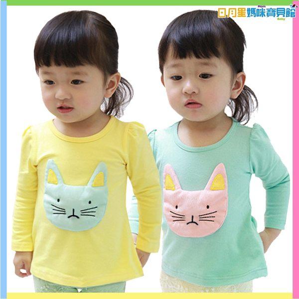 長袖T恤  立體小貓咪圓領長袖T T恤 長板T 潮T 日月星媽咪寶貝館