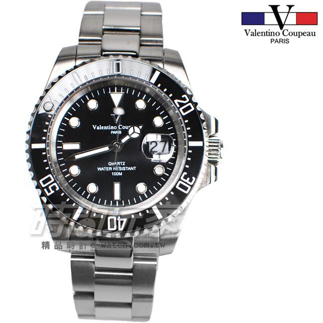 valentino coupeau范倫鐵諾夜光時刻不銹鋼防水手錶男錶黑色面盤潛水錶水鬼黑色石英錶V61589黑